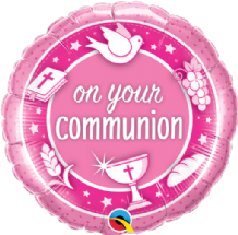 "On Your Communion Pink Foil Balloon (18"") 1pc"